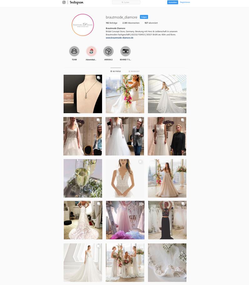 Brautmode Diamore Instagram